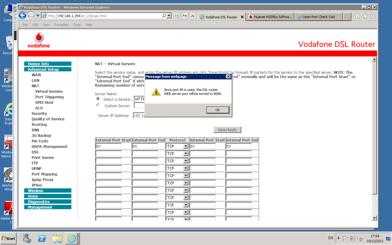 Port Forwarding with Vodafone Router echolife HG556A