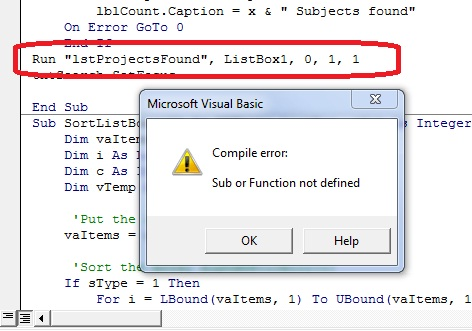 How to sort a to z a listbox in vba im getting a error message see pic ibookread Read Online