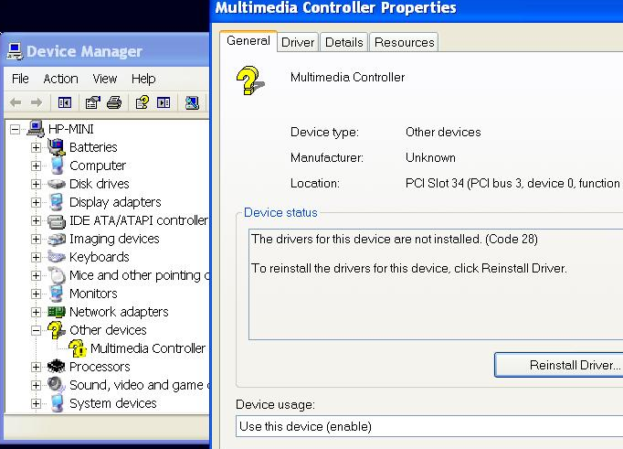 Device Manager showing a missing driver