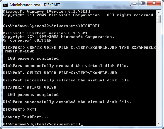 Command Line to Create a VHD in Win7 Setup