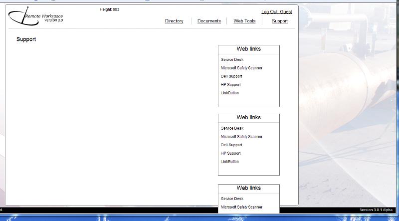 Screen of website