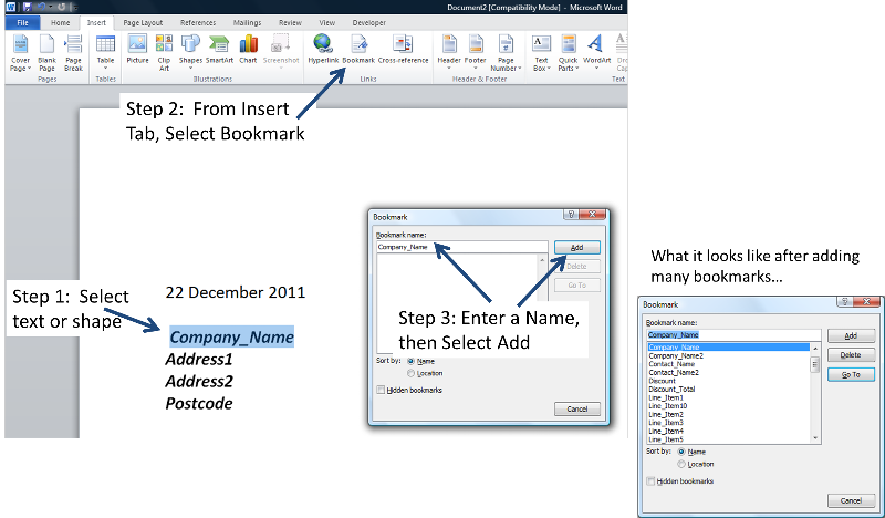 figure-1: Manually creating a Word bookmark