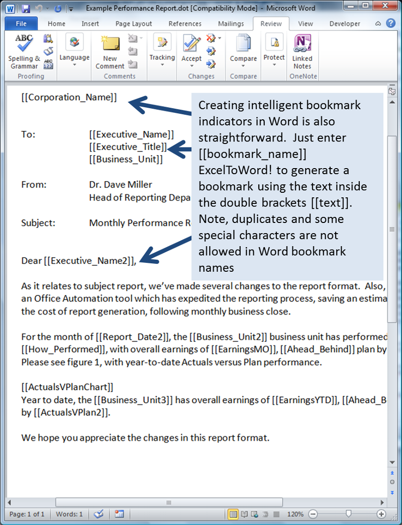 figure-3: Creating intelligent, personalized bookmark indicators in Word