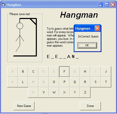 Hangman in progress