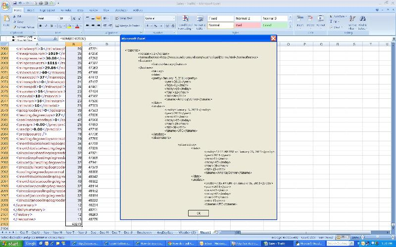 picture of MsgBox and XML totals lines and charaters