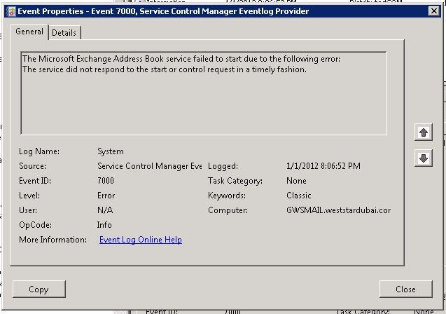 event ID 7000 : Microsoft Exchange address book