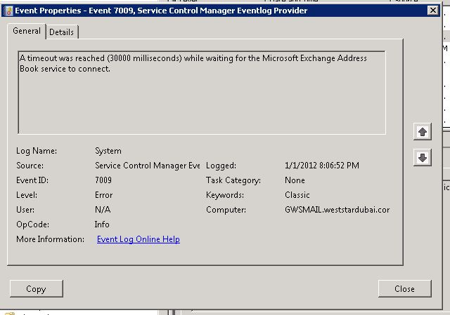 microsoft exchange address book service will not start after