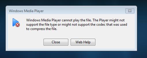 vlc codec error use windows media player