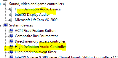 High Definition Audio Device showing under System devices in