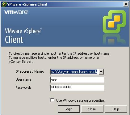 Using the VMware vSphere Client, Login and Connect to the ESXi 5.0 server