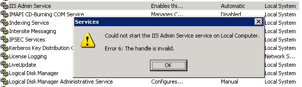 IIS Admin Service fail to start