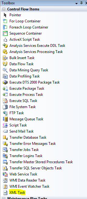 The XML Task, one of the Control Flow Items in Integration Services