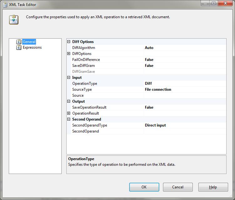 XML Task Editor: default settings