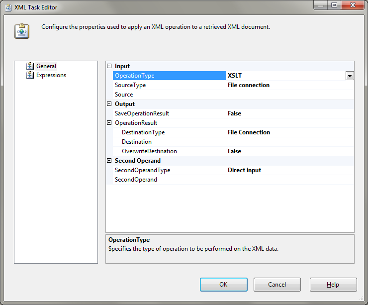 The XML Task Editor with XSLT as OperationType