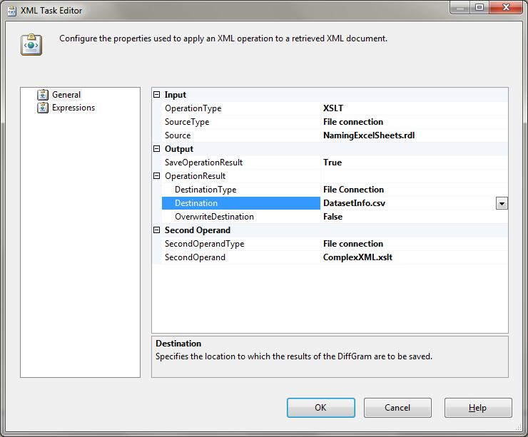 The XML Task Editor with all input and output files specified, as expected for our XSLT experiment