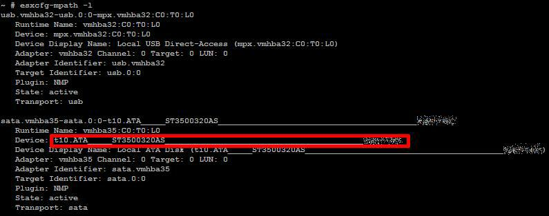output from esxcg-mpath