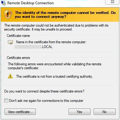 Certificate error in SBS 2011 RWA Remote Desktop