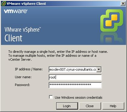 Using the VMware vSphere Client, login and connect to the ESXi 4.1 server