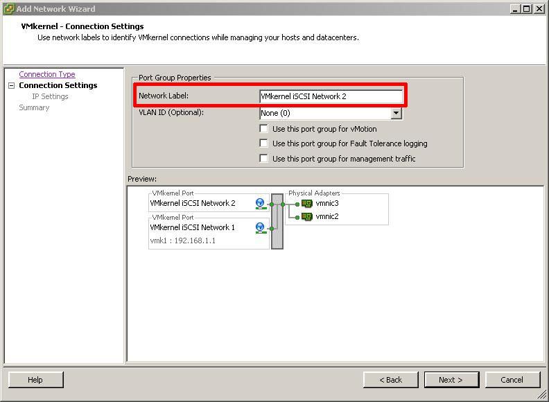 VMkernel Connection Settings