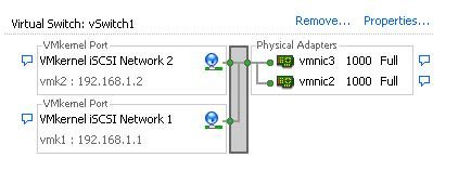 vSwitch1 complete with two VMkernel Portgroups