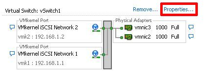 Select Properties of vSwitch1