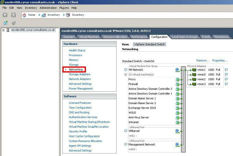 Click the Networking option to display the network vSwitches