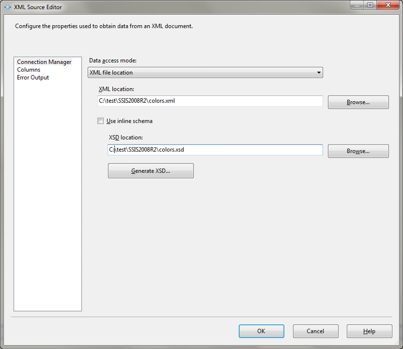 XML Source Editor with an XML and XSD file specified