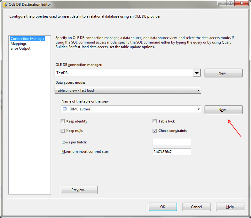 Destinatio table can be generated by using the New button in the OLE DB Destination Editor