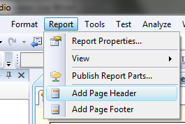 Adding a header to a report