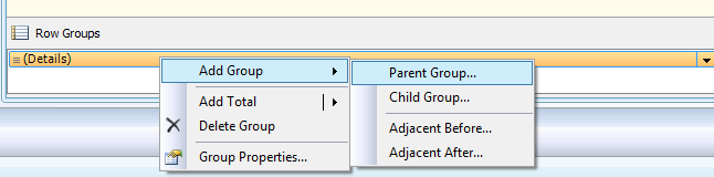 Right-click the Details line in Row Groups to add a new parent group
