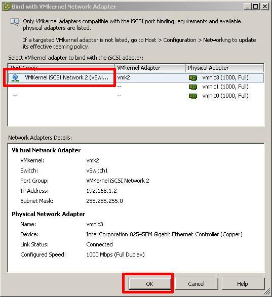 VMkernel iSCSI Network 2 (vmk2) to vmnic3