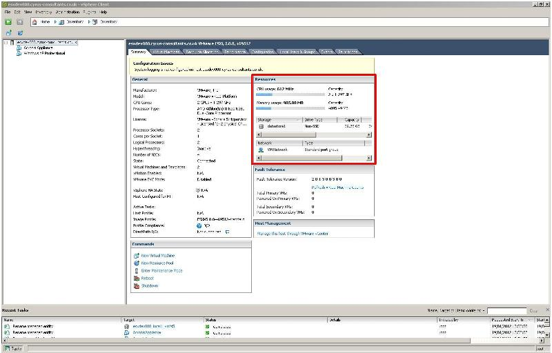 Connected to VMware ESX/ESXi server