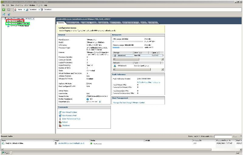 vSphere Client Inventory with Cloned, Copied Virtual Machine