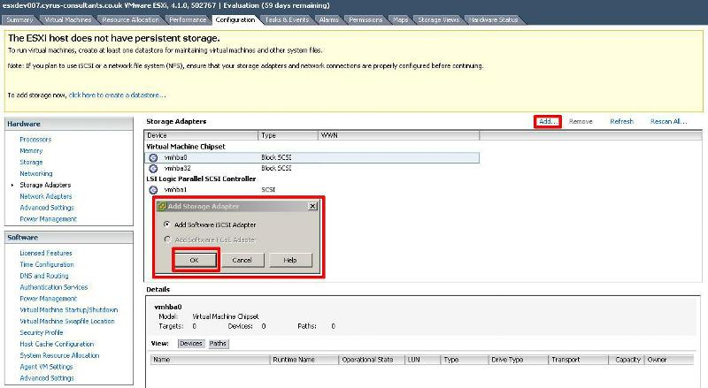 Select Add Software iSCSI Adapter and Click OK