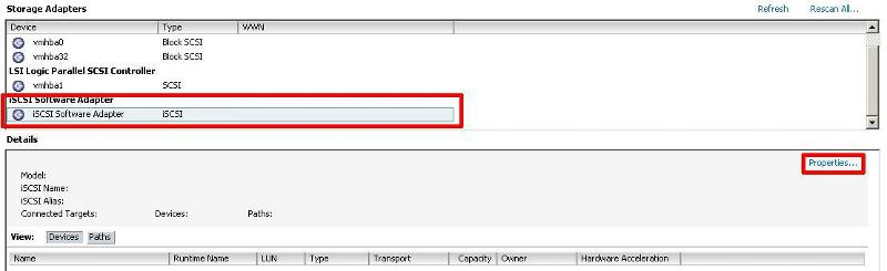 Select iSCSI Software Adaptor, and Select Properties