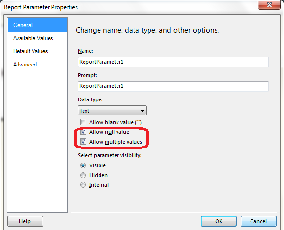 SOLUTION] SSRS Parameter Null Value and Multiple Value