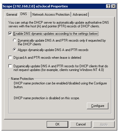 Windows 2008 dns not updating from dhcp