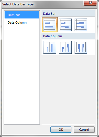 Select Data Bar Type window