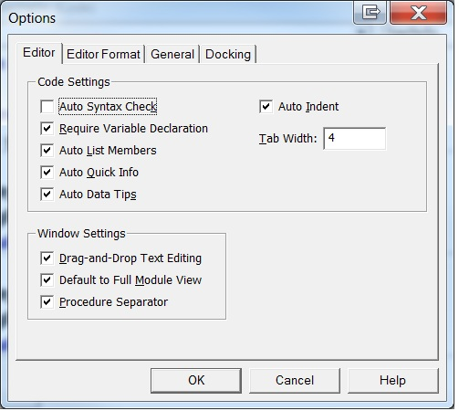 ]Figure 4 - Use the Options dialog box in the VBE to indicate that you want VBA to require variable declaration.
