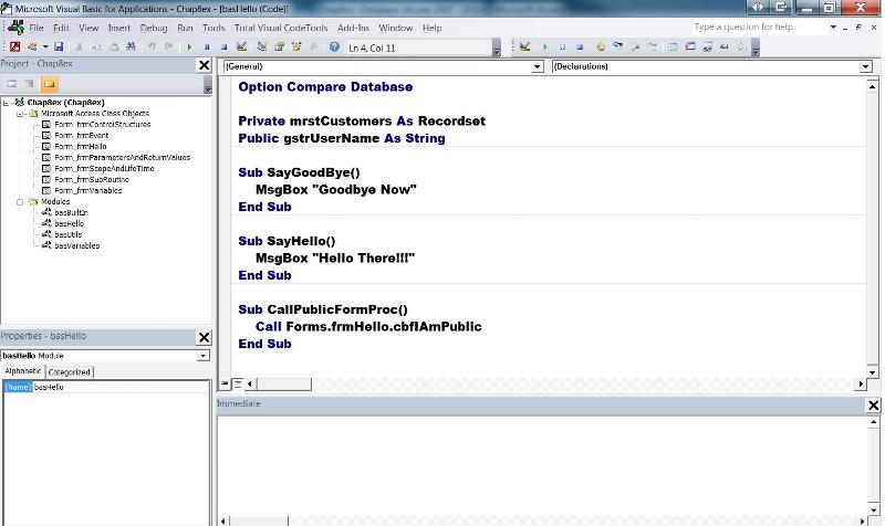 Figure 1 - The Visual Basic Editor (VBE)