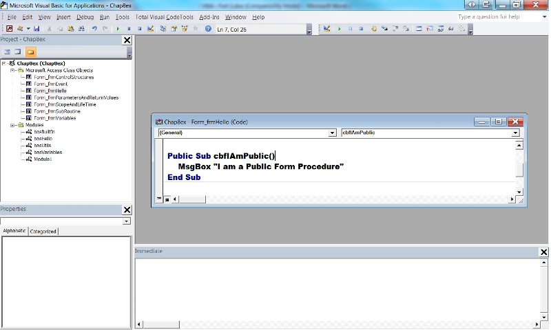 Figure 8 - A public form procedure is visible to any subroutine or function in the database.