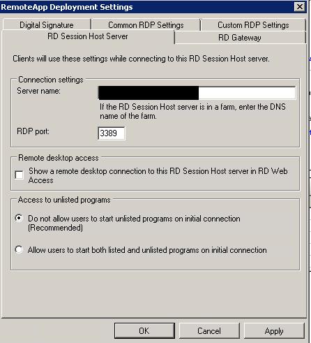 RD Session Host Server Settings