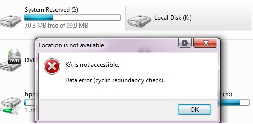 Recovery of a bad partition (Data error (cyclic redundancy
