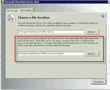 SharePoint Index File Location During Install