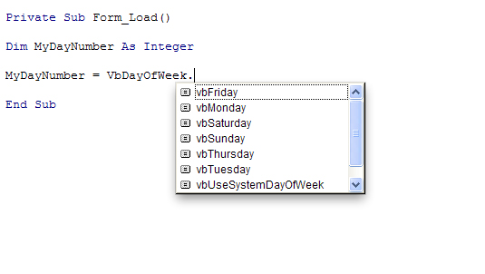 The built-in days of the week Enum