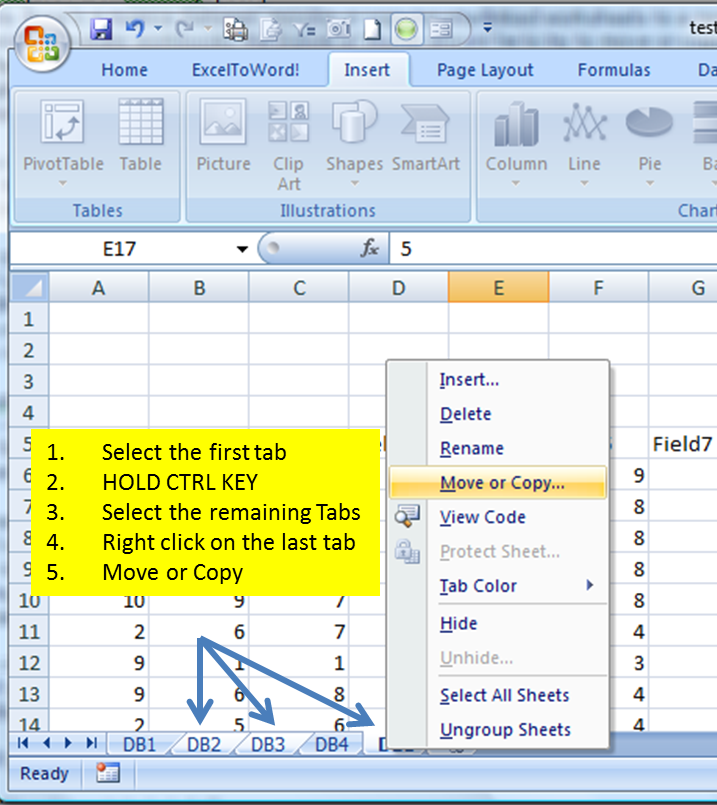 Figure 4-Select multiple tabs, THEN move/copy the worksheet tabs