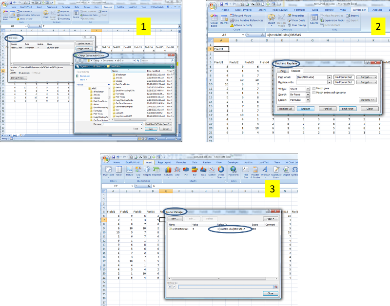 Figure 1,2,3 - Resolving link issues after copying tabs to another workbook