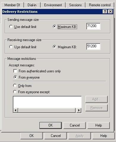 exchange 2003 sending message size doesn't take effect