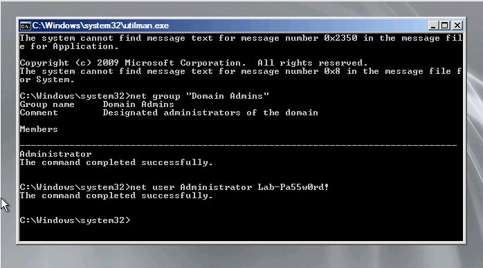 This Command Sets the Password For Administrator Account By Visibily Inputting it.