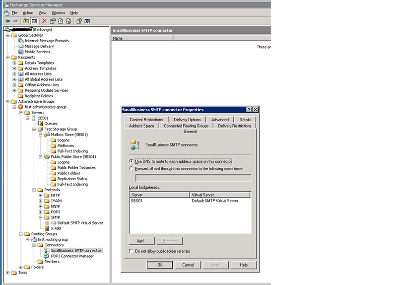 Exchange Server 2003 SMTP Connector Location in System Manager